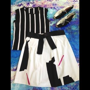 NWT - THEORY Graphic B/W Cotton Skirt